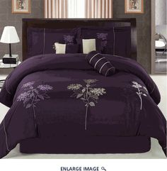 "I love this purple comforter set. Can't wait to get a ""grown up"" bed. Purple Bedspread, Purple Comforter, Purple Bedding Sets, Purple Bedrooms, Queen Comforter Sets, Luxury Bedding Sets, Cream Bedding, Embroidered Bedding, Trendy Bedroom"