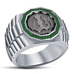 14K White Gold Finish Muslim Religious Allah Men's Band Ring Green Sapphire  #beijojewels #MensBandRing