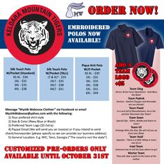 "Good news John Ringo fans! My Keldara Mountain Tiger illustration is now available embroidered on a polo! The infographic tells you how to place a preorder, which is the only time you'll have the option to add your favorite team name or choose a black color variant or specify your preference of pocket or ""tall"" polo. This offer is only available till end of Oct. #keldara #polo #johnringo #illustration #paladinofshadows #baen #tshirt #ordernow #embroideredshirt #embroidered"
