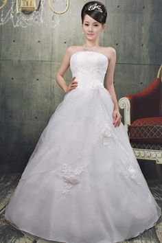 Strapless Elegant White Wedding Gown - Order Link: http://www.theweddingdresses.com/strapless-elegant-white-wedding-gown-twdn0381.html - Embellishments: Flower , Ruched , Sequin; Length: Floor Length; Fabric: Tulle; Waist: Natural - Price: 160.67USD