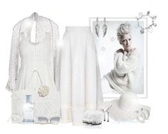 """~Blanc d'argent~"" by li-lilou ❤ liked on Polyvore featuring Paychi Guh, FLOW the Label, Antonello, Dorothy Perkins, Cara, ChloBo, Fabulicious, Prada and House of Harlow 1960"