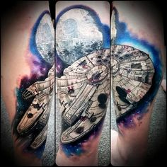 Outstanding Millennium Falcon Tattoo by Chris Toler