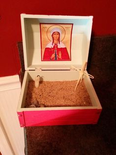 Shrine Box for children; made out of a small wooden box, a candle, a paper icon and sand!