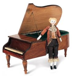 Antique Dolls and Toys of LEGO - Session 1: 186 19th Century Music Box as Grand Piano with Dollhouse Marquis