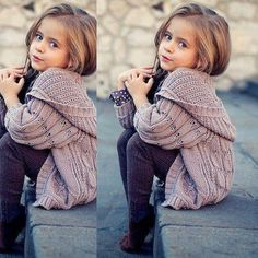 Little girls fashion. Love her sweater outfit AND pose. So cute.