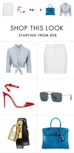 """Untitled #4055"" by antonellac15 ❤ liked on Polyvore featuring Topshop, Gianvito Rossi, Prada and Hermès"