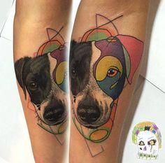 Dog (Fenix) portrait mashup tattoo on the inner forearm.