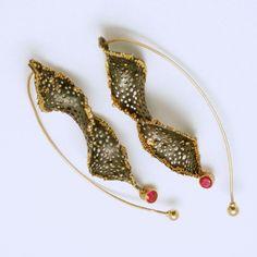 Studio Numen     Earrings Patinated Sterling Silver, 22K Gold Granulation, 14 Gold, 2 Spinels