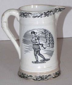 """""""Canadian Sports"""" Transfer Pitcher - ca.1880 #snowshoes #transferware #pitcher"""