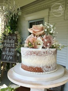 Un-stacked Shabby Chic Naked Wedding Cake with Edible Cake Lace and Fresh Flowers, country, doily, rustic #ShabbyChicWeddingIdeas #laceweddingcakes #shabbychicweddingflowers