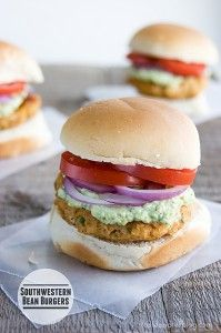 Southwestern Bean-Veggie Burger and more veg burger recipes on MyNaturalFamily.com #recipe #vegan
