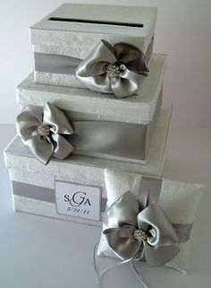 Wedding Card Box but with navy and coral ribbon