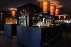 Restaurant Design dark wood cool lights