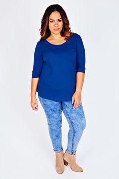 Cobalt Blue Scoop Neckline T-shirt With 3/4 Sleeves