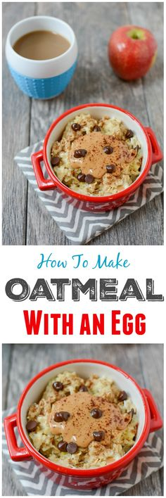 Microwave Egg Oatmeal- An easy way to add some extra protein to your breakfast. Follow this recipe to learn how to cook oatmeal with an egg!