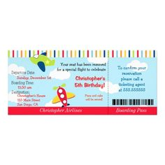 Airplane Ticket Birthday Invitation