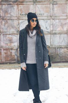 grey sweater, winter beanie