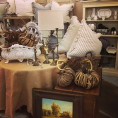 Sept. 2013 - Handmade pillows, pumpkins, burlap, oil painting, accessories, cast iron urn, iron lamp