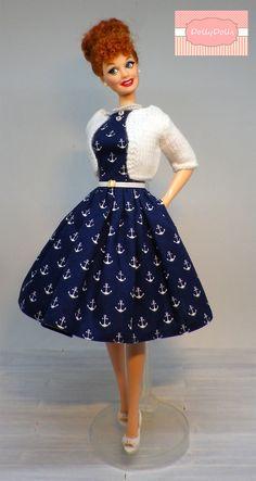 Ancora Collection. Vintage Style Full Skirt Dress and Cardigan for Barbie dolls by Dollydolls. New model! de MyDollyDolls en Etsy