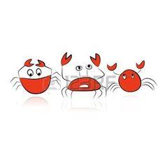 cangrejo caricatura: Conjunto de cangrejos divertidos para su diseño