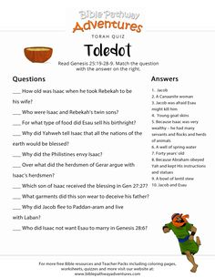 Torah Portion Quiz: Toledot (Genesis 25:19-28-9) | FREE download Bible Resources, Bible Activities, Bible Study For Kids, Bible Lessons For Kids, Teaching History, History Education, Bible Questions For Kids, Quizzes For Kids, Sunday School Projects