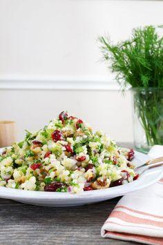 Mediterranean Cauliflower Cous Cous Salad {Paleo/AIP/Vegan}