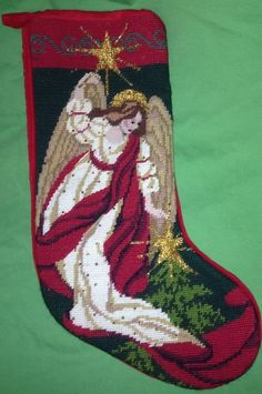 Completed Angel Needlepoint Tapestry Beaded Holiday Christmas Mantel Stocking