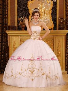 White Quinceanera Dress With Gold embellishments