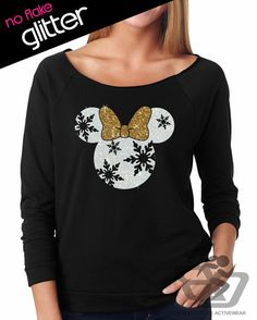 Disney Shirt GLITTER  Christmas Snowflake Minnie Mouse //