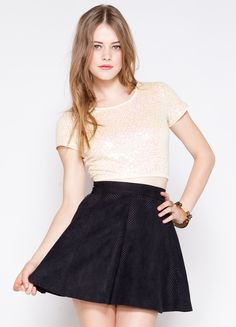 """Sequin crop top that's perfect for any party.    100% cotton  13"""" length  Model is wearing size S"""