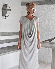 Light Gray Melange Maxi Dress / Gray Kaftan / Asymmetric Plus
