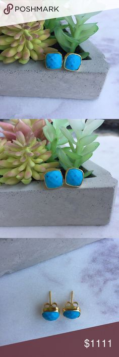 Turquoise Earrings natural faceted turquoise stone with 24k gold electroplated earring settings - 8mm - please note that as theses are handmade, they are not completely identical to each other!  ▫️ handmade in El Paso, TX Simple Sanctuary Jewelry Earrings