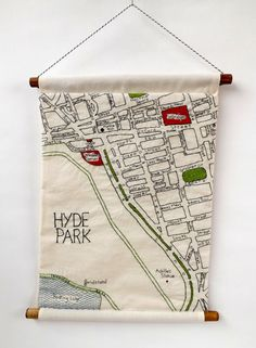 Embroidery Stitches Hand Embroidered Maps of London Neighborhoods - If you're having trouble finding your way around London, then maybe one of these hand embroidered maps of London neighborhoods by Alex of StitchCity will help you out! Embroidery Map, Hand Embroidery Patterns, Cross Stitch Embroidery, Machine Embroidery, Map Quilt, Textile Art, Crochet, Sewing Projects, London Neighborhoods