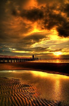 Golden Sunset At The Pier