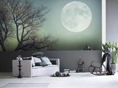 une tapisserie murale paysage nocturne, salon moderne à décoration murale artistique