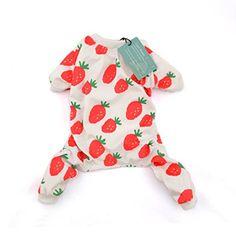 Cutebone Dog Pajamas Strawberry Dog Apparel Dog Jumpsuit Pet Clothes Onesie Pajamas (Xs)