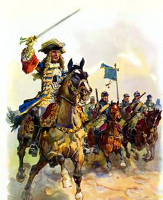 Max II. Emanuel Elector of Brandenburg-Prussia leading the charge of the Weickel Cuirassiers into battle