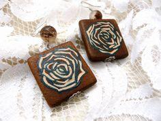 Original Handmade Earrings, Wood Floral Earrings, Flower Motif Earrings, Custom Wood Earrings