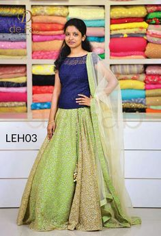 Hi we have boutique and a tailoring unit. We can make this design with your choice of color combination and with customised design. we also deal with all kinds Half Saree Designs, Lehenga Designs, Saree Blouse Designs, Salwar Designs, Half Saree Lehenga, Anarkali Dress, Lehenga Blouse, Kids Lehenga, Bridal Lehenga