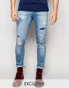 Brooklyn Supply Co Skinny Jeans Distressed Patch Repair Light Stonewash