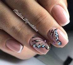 Trendy Nails Toe French Nailart Ideas in 2020 Frensh Nails, French Manicure Acrylic Nails, French Tip Nails, Cute Nails, Pretty Nails, Animal Nail Designs, Butterfly Nail Designs, Butterfly Nail Art, Nail Art Designs