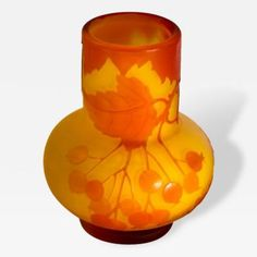 Galle French Camero Art Glass Vase, 1900's by Émile  Gallé