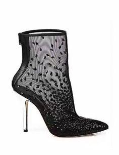 OSCAR DE LA RENTA Camille Embroidered & Embellished Mesh Ankle Boots