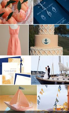 peach and navy. and anchors are my favorite symbol. the meaning of steadfastness and stability and hope throughout the storms of life...a good symbol for marraige too i think :)