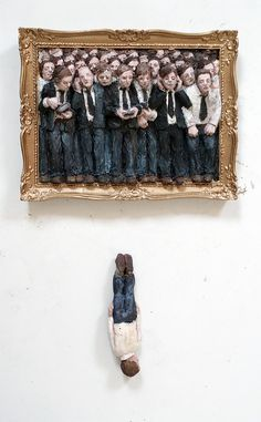 Goldman parachutes by Isaac Cordal, via Flickr satirical mixed media ceramic contemporary art painting 3d sculpture