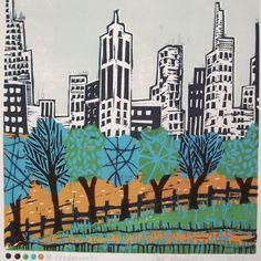 Original lino cut of a city scene through the edge of a tree lined park, hand printed in six colours. inches x inches x Printed on thick Zerkall paper. Sold with a mount / matte size inches x inches x Linocut Prints, Art Prints, Movement Drawing, Class Art Projects, Building Painting, Cityscape Art, Linoprint, Landscape Prints, Print Artist
