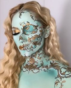 Pintura facial criada pela artista Vanessa Davies (the_wigs_and_makeup_manager). Skull Makeup, Sfx Makeup, Costume Makeup, Makeup Art, Makeup Eyeshadow, Eyeshadow Palette, Foil Eyeshadow, Simple Eyeshadow, Yellow Eyeshadow
