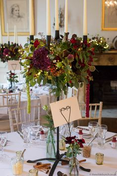 Wedding Flowers Bristol - The Wilde Bunch Wedding Florist Country House Wedding Venues, London Bride, Wedding Events, Weddings, After All These Years, Beautiful Table Settings, Candelabra, Wedding Flowers, Floral Design