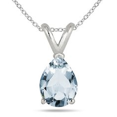 6x4MM All Natural Pear Aquamarine Stud Pendant in .925 Sterling Silver, Women's