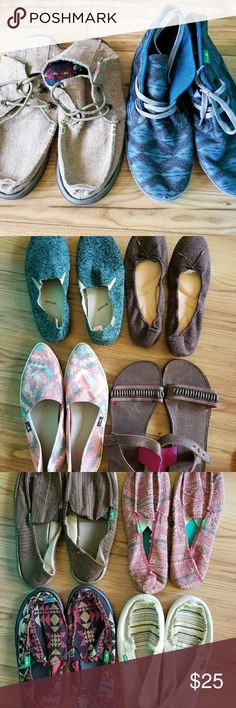 Sanuk womens shoes All are new sample shoes.  all Size 7.  Slim styles will fit 6.5.  $25 each. Bundles will be discounted.  Comment on style you want and I will create a bundle with tag for purchase. Sanuk Shoes Flats & Loafers